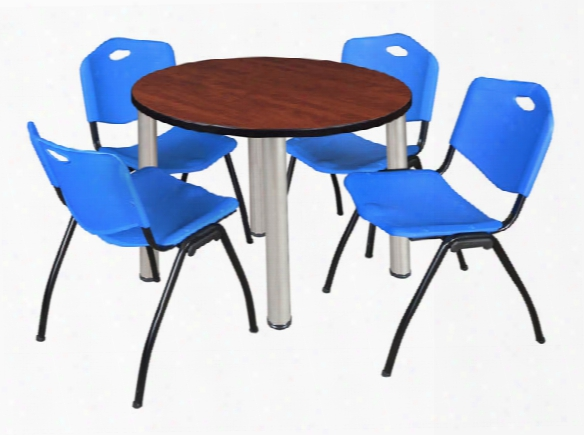 "42"" Round Breakroom Table- Cherry/ Chrome & 4 'm' Stack Chairs By Regency Furniture"