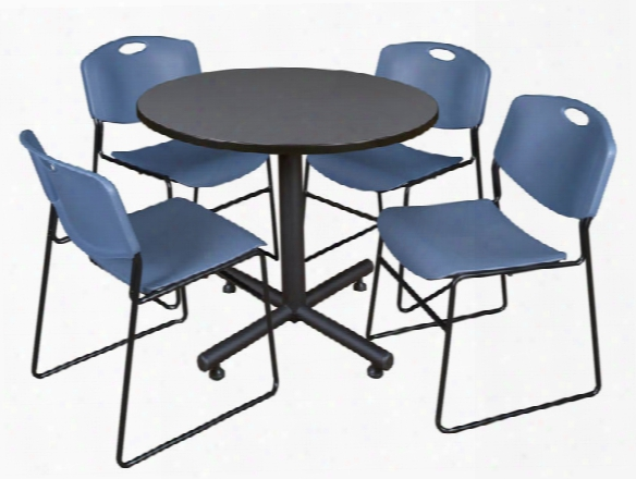 "42"" Round Breakroom Table- Gray & 4 Zeng Stack Chairs By Regency Furniture"