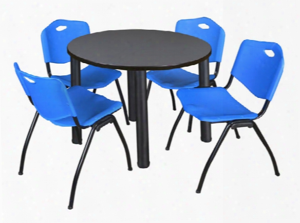 "42"" Round Breakroom Table- Gray/ Black & 4 'm' Stack Chairs By Regency Furniture"