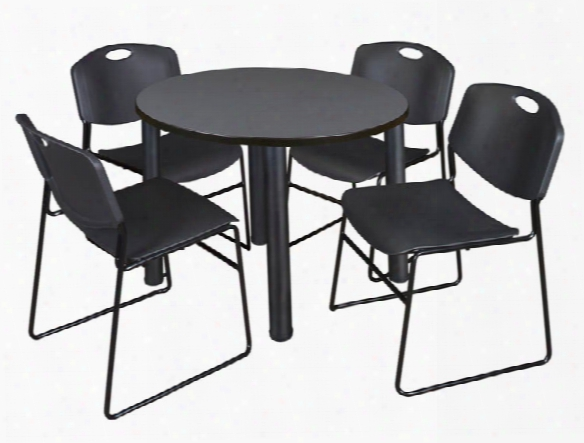 "42"" Round Breakroom Table- Gray/ Black & 4 Zeng Stack Chairs By Regency Furniture"