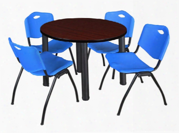"""42"""" Round Breakroom Table- Mahogany/ Black & 4 'm' Stack Chairs By Regency Furniture"""