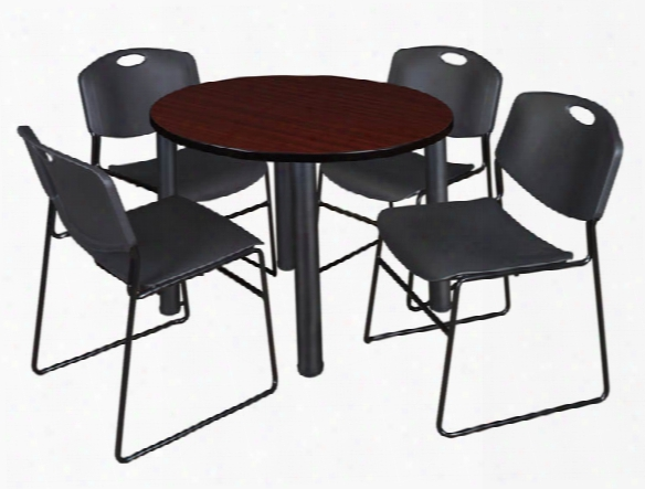 "42"" Round Breakroom Table- Mahogany/ Black & 4 Zeng Stack Chairs By Regency Furniture"