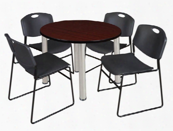 """42"""" Round Breakroom Table- Mahogany/ Chrome & 4 Zeng Stack Chairs By Regency Furniture"""