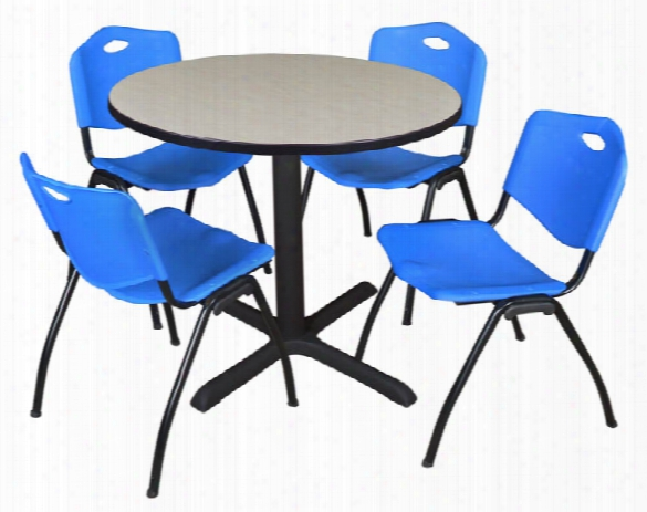 "42"" Round Breakroom Table- Maple & 4 'm' Stack Chairs By Regency Furniture"