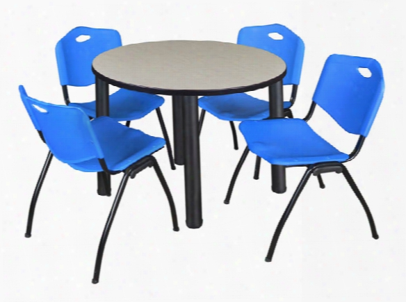 "42"" Round Breakroom Table- Maple/ Black & 4 'm' Stack Chairs By Regency Furniture"