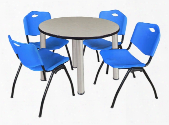 "42"" Round Breakroom Table- Maple/ Chrome & 4 'm' Stack Chairs By Regency Furniture"