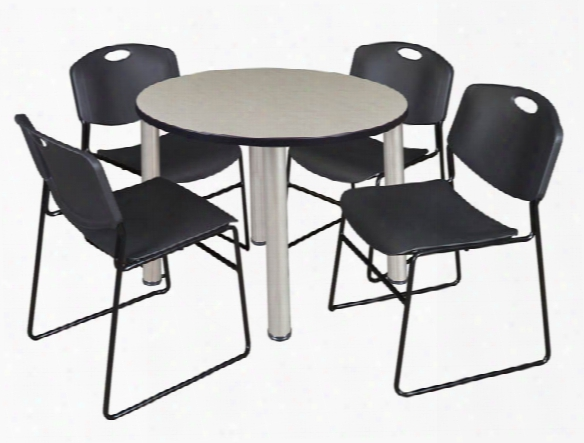"42"" Round Breakroom Table- Maple/ Chrome & 4 Zeng Stack Chairs By Regency Furniture"
