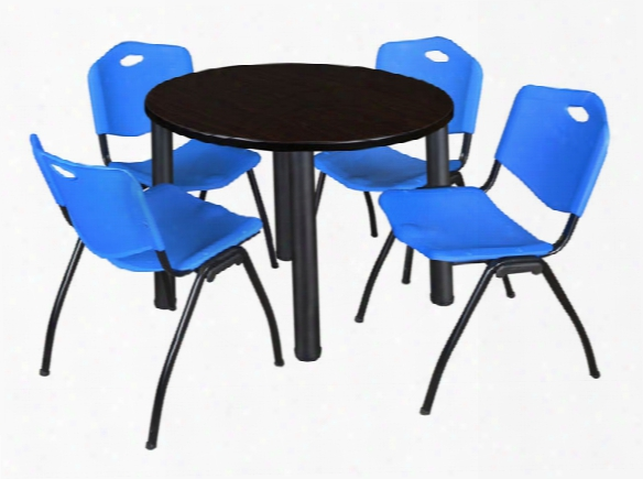"42"" Round Breakroom Table- Mocha Walnut/ Black & 4 'm' Stack Chairs By Regency Furniture"