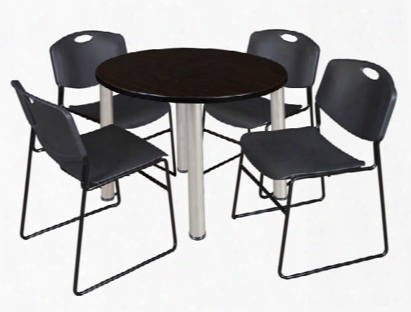 "42"" Round Breakroom Table- Mocha Walnut/ Chrome & 4 Zeng Stack Chairs By Regency Furniture"