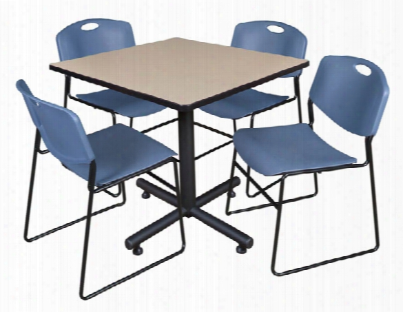 "42"" Square Breakroom Table- Beige & 4 Zeng Stack Chairs By Regency Furniture"