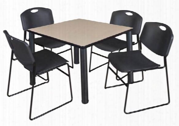 "42"" Square Breakroom Table- Beige/ Black & 4 Zeng Stack Chairs By Regency Furniture"