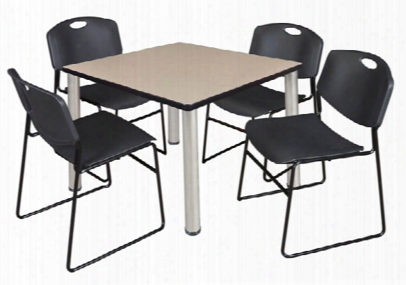 "42"" Square Breakroom Table- Beige/ C Hrome & 4 Zeng Stack Chairs By Regency Furniture"
