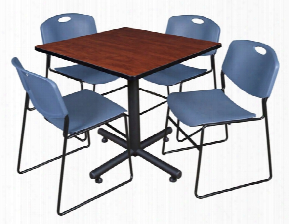 "42"" Square Breakroom Table- Cherry & 4 Zeng Stack Chairs By Regency Furniture"