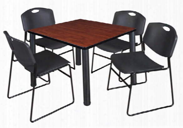 "42"" Square Breakroom Table- Cherry/ Black & 4 Zeng Stack Chairs By Regency Furniture"