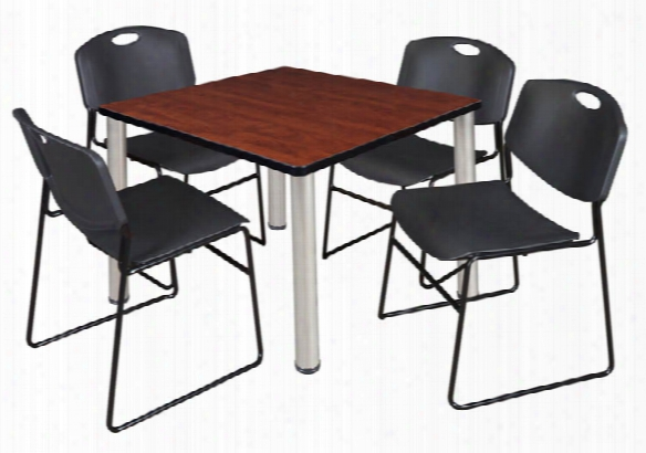 "42"" Square Breakroom Table- Cherry/ Chrome & 4 Zeng Stack Chairs By Regency Furniture"