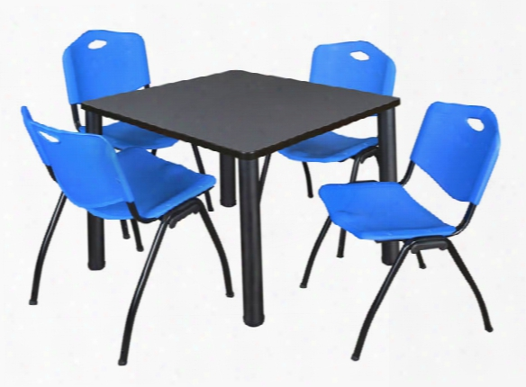 """42"""" Square Breakroom Table- Gray/ Black & 4 'm' Stack Chairs By Regency Furniture"""