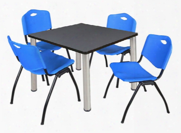 """42"""" Square Breakroom Table- Gray/ Chrome & 4 'm' Stack Chairs By Regency Furniture"""