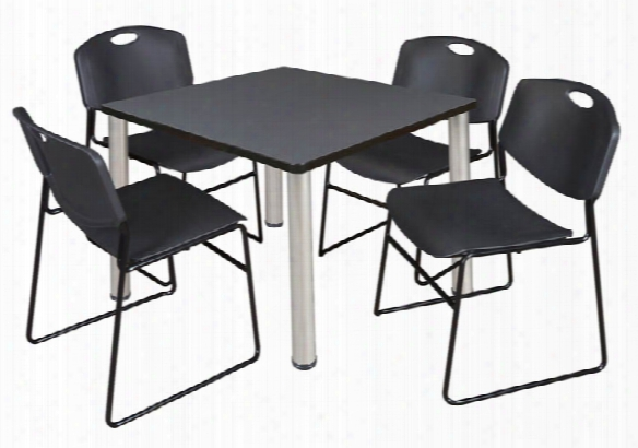 """42"""" Square Breakroom Table- Gray/ Curome & 4 Zeng Stack Chairs By Regency Furniture"""