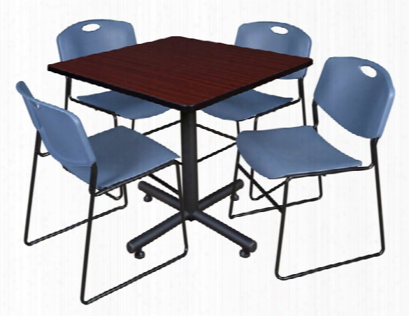 """42"""" Square Breakroom Table- Mahogany & 4 Zeng Stack Chairs By Regency Furniture"""