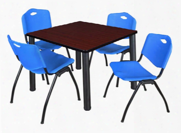 "42"" Square Breakroom Table- Mahogany/ Black & 4 'm' Stack Chairs By Regency Furniture"