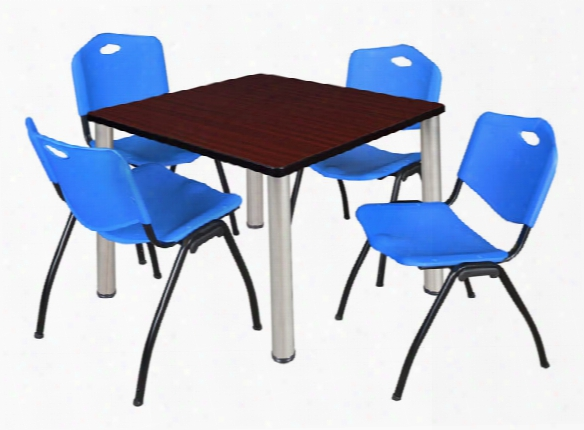 """42"""" Square Breakroom Table- Mahogany/ Chrome & 4 'm' Stack Chairs By Regency Furniture"""