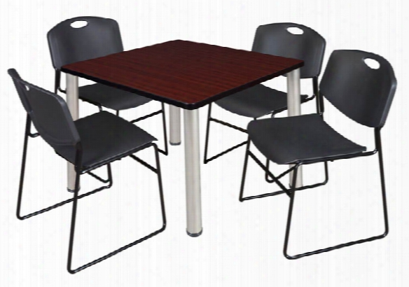 """42"""" Square Breakroom Table- Mahogany/ Chrome & 4 Zeng Stack Chairs By Regency Furniture"""