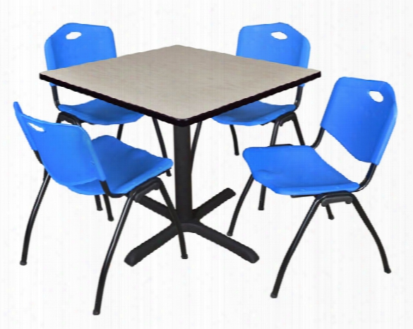 "42"" Square Breakroom Table- Maple & 4 'm' Stack Chairs By Regency Furniture"