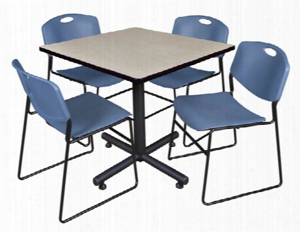 """42"""" Square Breakroom Table- Maple & 4 Zeng Stack Chairs By Regency Furniture"""