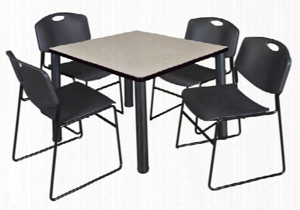 """42"""" Square Breakroom Table- Maple/ Black & 4 Zeng Stack Chairs By Regency Furniture"""