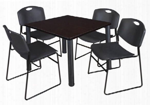 "42"" Square Breakroom Table- Mocha Walnut/ Black & 4 Zeng Stack Chairs By Regency Furniture"