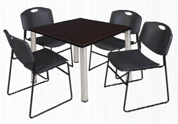 "42"" Square Breakroom Table- Mocha Walnut/ Chrome & 4 Zeng Stack Chairs By Regency Furniture"