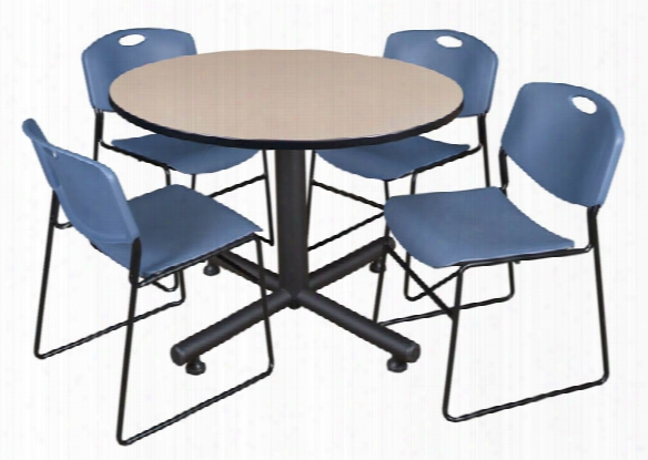 "48"" Round Breakroom Table- Beige & 4 Zeng Stack Chairs By Regency Furniture"