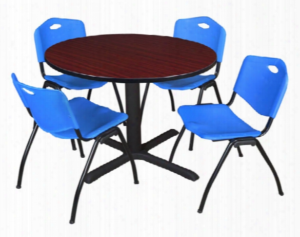 "48"" Round Breakroom Table- Mahogany & 4 'm' Stack Chairs By Regency Furniture"