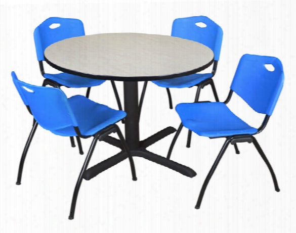 """48"""" Round Breakroom Table- Maple & 4 'm' Stack Chairs By Regency Furniture"""