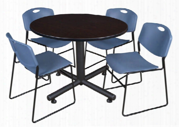 "48"" Round Breakroom Table- Mocha Walnut & 4 Zeng Stack Chairs By Regency Furniture"