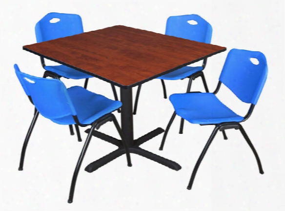 "48"" Square Breakroom Table- Cherry & 4 'm' Stack Chairs By Regency Furniture"