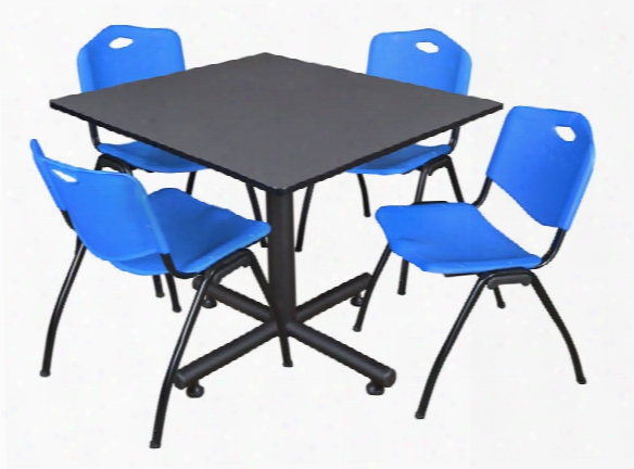 "48"" Square Breakroom Table- Gray & 4 'm' Stack Chairs By Regency Furniture"