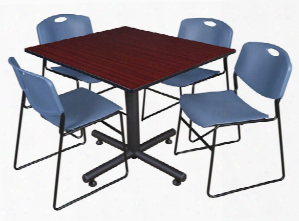 """48"""" Square Breakroom Table- Mahogany & 4 Zeng Stack Chairs By Regency Furniture"""