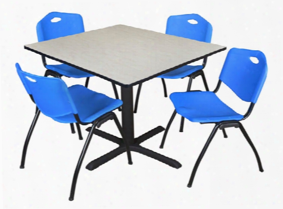 """48"""" Square Breakroom Table- Maple & 4 'm' Stack Chairs By Regency Furniture"""