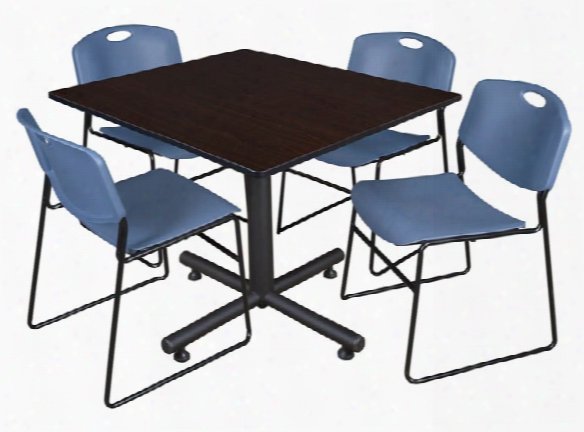 "48"" Square Breakroom Table- Mocha Walnut & 4 Zeng Stack Chairs By Regency Furniture"
