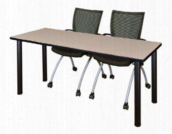 "60"" X 24"" Training Table- Beige/ Black & 2 Apprentice Chairs- Black By Regency Furniture"