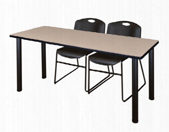 "60"" X 24"" Training Table- Beige/ Black & 2 Zeng Stack Chairs By Regency Furniture"