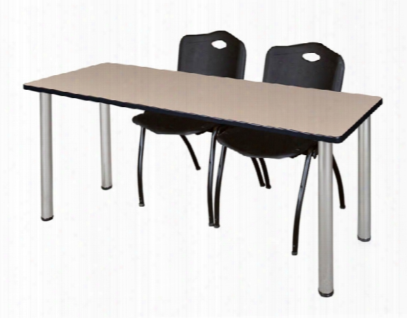"""60"""" X 24"""" Training Table- Beige/ Chrome & 2 'm' Stack Chairs By Regency Furniture"""