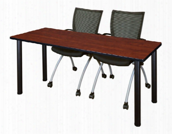 "60"" X 24"" Training Table- Cherry/ Black & 2 Apprentice Chairs- Black By Regency Furniture"