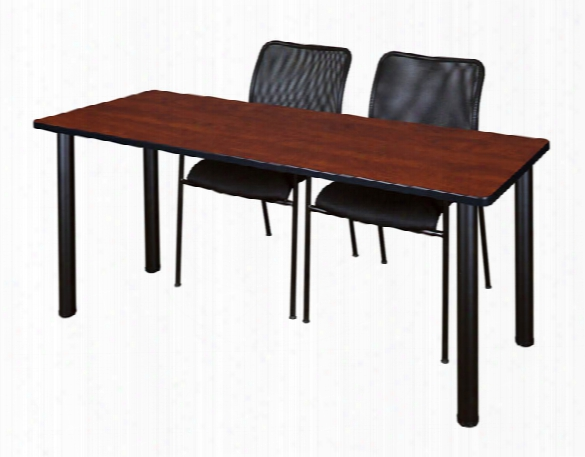 "60"" X 24"" Training Table- Cherry/ Black & 2 Mario Stack Chairs- Black By Regency Furniture"