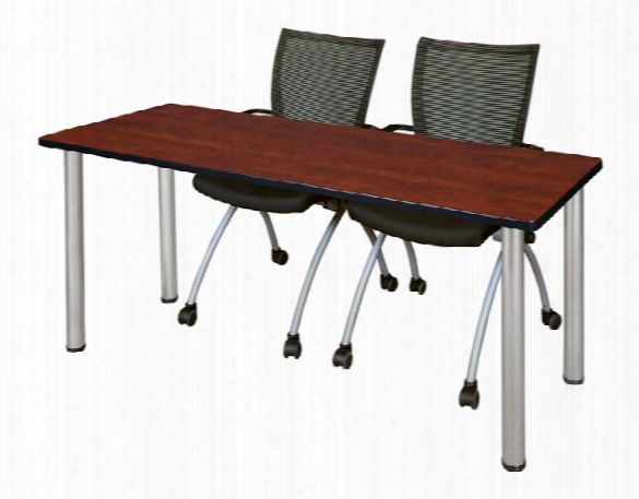"60"" X 24"" Training Table- Cherry/ Chrome & 2 Apprentice Chairs- Black By Regency Furniture"