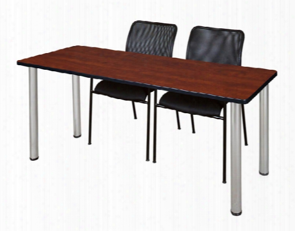 "60"" X 24"" Training Table- Cherry/ Chrome & 2 Mario Stack Chairs- Black By Regency Furniture"