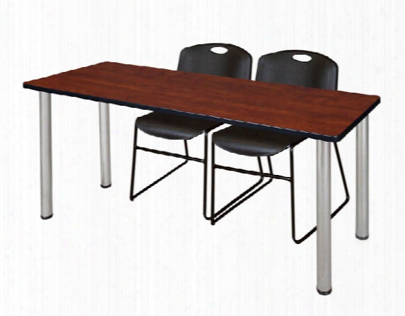 "60"" X 24"" Training Table- Cherry/ Chrome & 2 Zeng Stack Chairs By Regency Furniture"