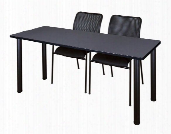 """60"""" X 24"""" Training Table- Gray/ Black & 2 Mario Stack Chairs- Black By Regency Furniture"""
