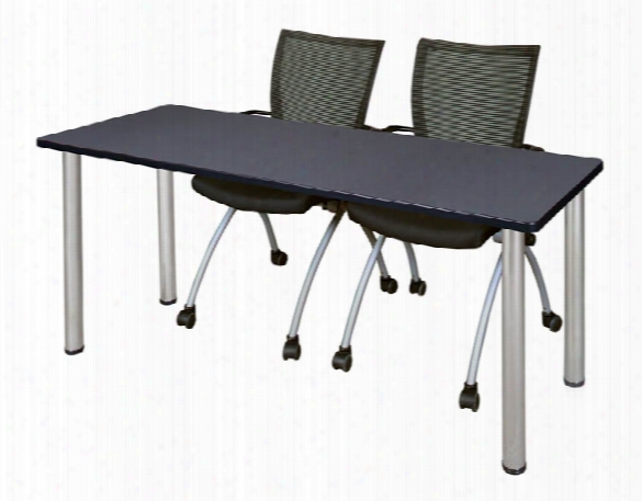 "60"" X 24"" Training Table- Gray/ Chrome & 2 Apprentice Chairs- Black By Regency Furniture"